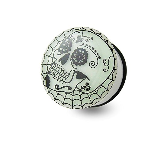 (5/8 Inch - 16MM Tribal Skull Glow in the Dark Logo Picture UV Acrylic Single Flared Cup Cake Ear Plugs)