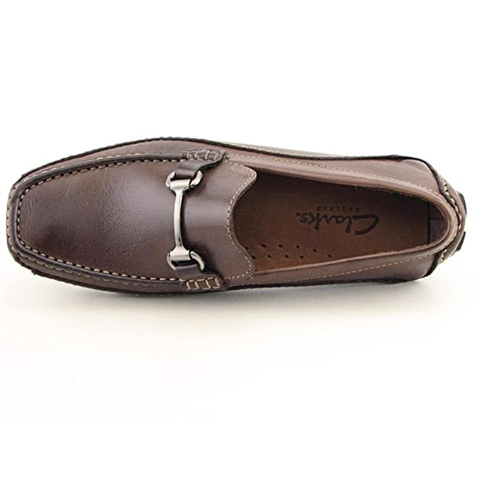 Amazon.com | CLARKS Mens SING Flexible Leather Driving Moccasins, 10.5, Brown Leather | Loafers & Slip-Ons