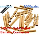 XSD MOEDL 1000 Pairs 2.0MM 2MM 2.0 Gold Bullet Banana Connector Plug Banana Plugs for ESC Lipo RC Battery Plugs