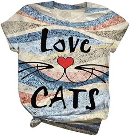 CrazyFashion New Women`s Letter Round Neck Short Sleeve Cat Printed T-Shirt Top Love Cats
