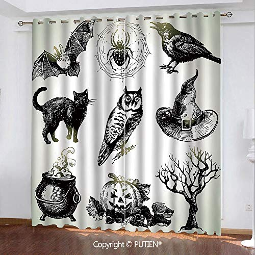 Satin Grommet Window Curtains Drapes [ Vintage Halloween,Halloween Related Pictures Drawn by Hand Raven Owl Spider Black Cat Decorative,Black White ] Window Curtain for Living Room Bedroom Dorm Room C]()