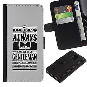 KLONGSHOP // Tirón de la caja Cartera de cuero con ranuras para tarjetas - SIEMPRE UN CABALLERO - Samsung Galaxy S5 Mini, SM-G800 //