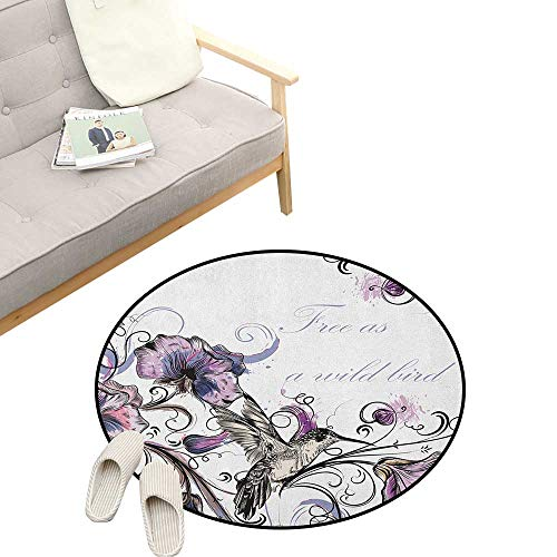 - Hummingbird Round Rug ,Flowers Leaves Bird and Classic Patterns Curvy Lines Ornament Nostalgic Art, Flannel Microfiber Non-Slip Soft Absorbent 23