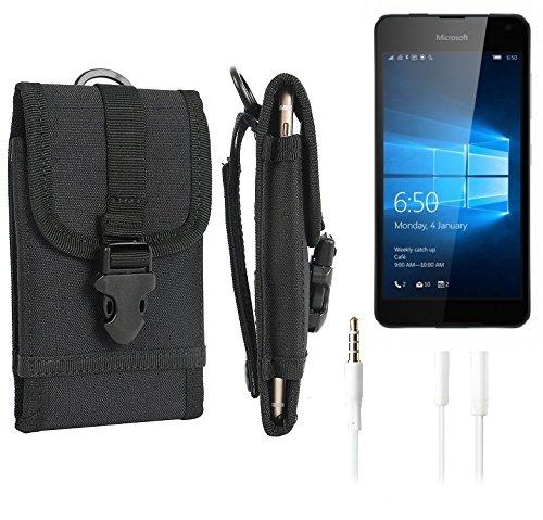 bolsa del cinturón / funda para Microsoft Lumia 650, negro + Auriculares | caja del teléfono cubierta protectora bolso - K-S-Trade (TM)