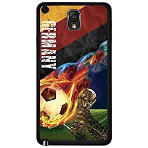 Yellow, Red, and Black Germany Fan Art with Colorful Fiery Soccer Ball Hard Snap on Phone Case (Note 3 III)