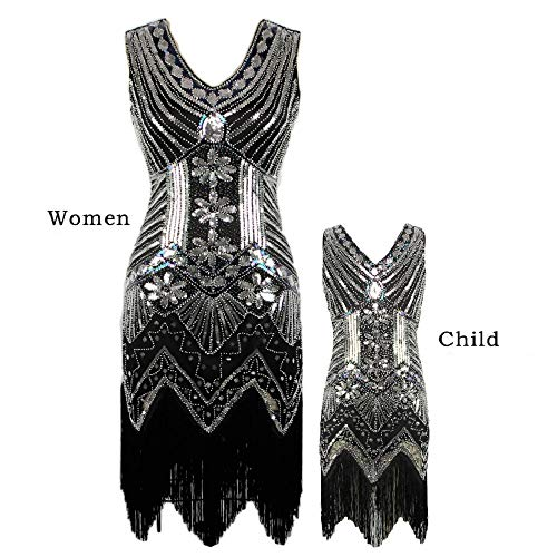 AMJM Mommy and me 1920s Gastby Sequin Art Nouveau Embellished Fringed Flapper Dress (X-Small, Silver) ()
