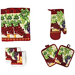 Cotton Printed Kitchen Dish Towels, Pot Holder and Oven Mitt, Set of 8 for Cooking, Baking, Housewarming, Host/Hostess, Wedding Registy, Mother's Day Gifts-Grapes