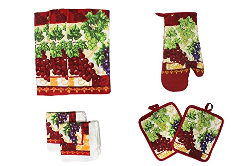 Cotton Printed Kitchen Dish Towels, Pot Holder and Oven Mitt, Set of 8 for Cooking, Baking, Housewarming, Host/Hostess, Wedding Registy, Mother's Day (Grape Holder)