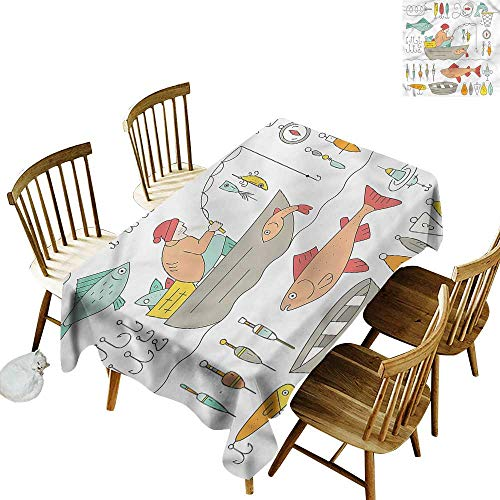 one1love Custom Tablecloth Nautical Fisherman in Fishing Boat Table Cover for Dining 54