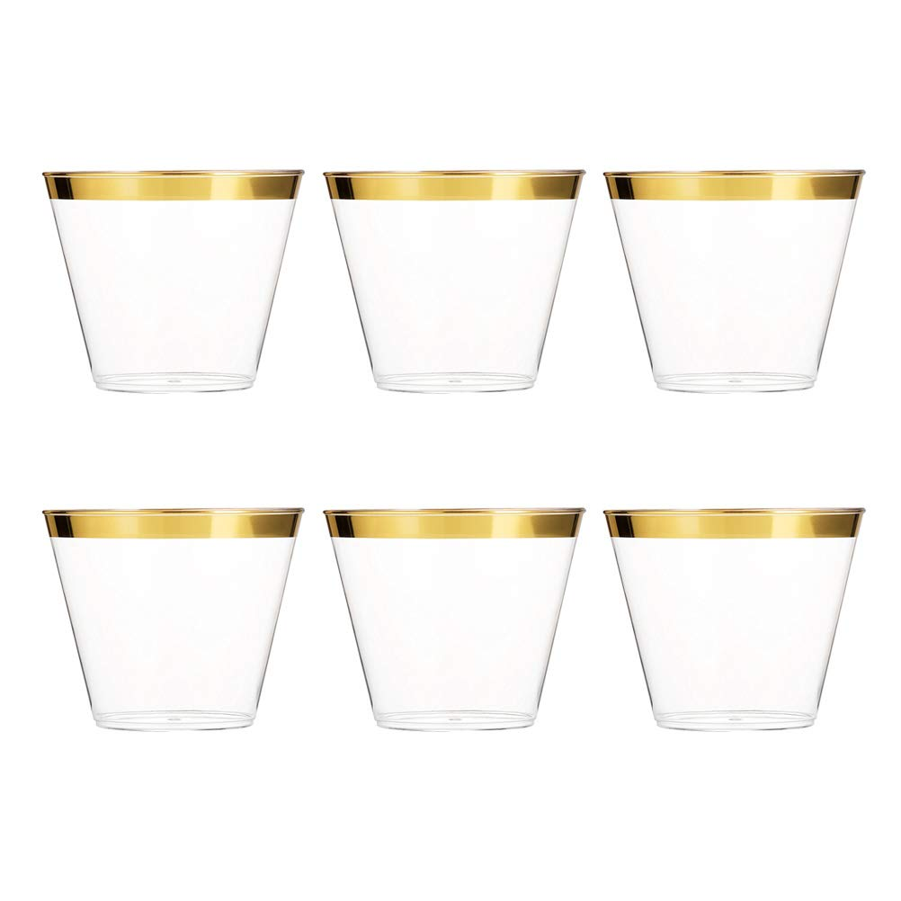BESTONZON 6pcs Gold Rimmed Plastic Cups Cocktail Glasses Coffee Beer Drinkware for Wedding Birthday Parties