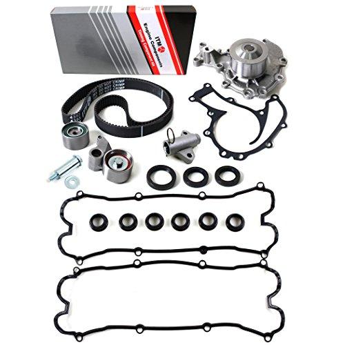 NEW ITM303HTWPVC (191 Teeth) Timing Belt Kit, Oil Seals, Hydraulic Tensioner (Auto Adjuster), Water Pump (w/ Gasket), & Valve Cover Gasket Set (w/ Spark Plug Seals) -