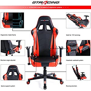 GTracing Ergonomic Office Chair Racing Chair Backrest and Seat Height Adjustment Computer Chair With Pillows Recliner Swivel Rocker Tilt E-sports Chair (Black/Red)