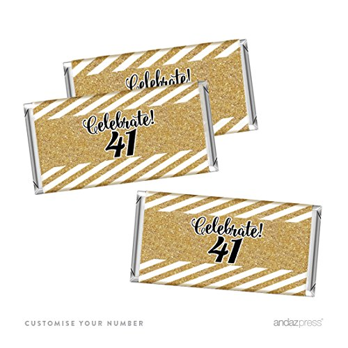 Andaz Press Personalized Milestone Hershey Bar Party Favor Labels Stickers, Celebrate Custom Number, Custom Birthday or Anniversary, 10-Pack, Not Real Gold Glitter
