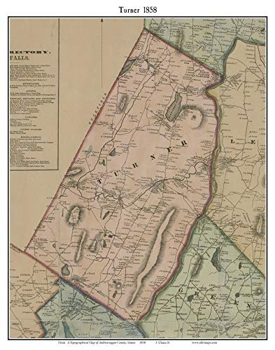 Turner 1858 Old Town Map with Homeowner Names Maine Bradford City Chase's Mills- Reprint Genealogy Androscoggin County ME TM (A Map Of Maine With Towns And Cities)