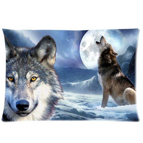 Price comparison product image DEFFWBb Wolf Howling at The Moon Funny Animals One Side Rectangle Decorative Throw Pillowcase Cover 18x18 inch