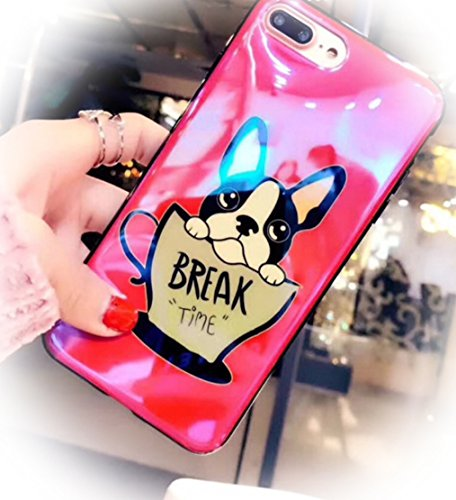 Funny Me&H French Bulldog in Cup Tea Break Time Afternoon Protective Cover Phone Case (Reflective Red, iPhone 6 6s Case 4.7'') ()