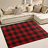 ALAZA Christmas Red Black Plaid Area Rug Rugs For Living Room Bedroom 7u0027 X  5u0027