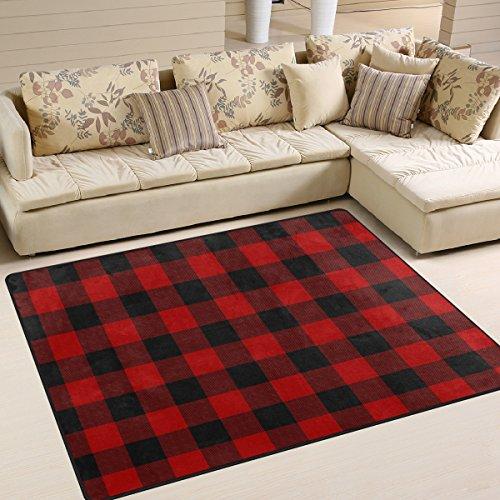 Amazon Com Alaza Christmas Red Black Plaid Area Rug Rugs