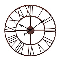 Utopia Alley Roman Round Clock, Distressed Finish, Metal, Dark Bronze
