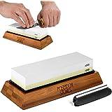 Professional Grade Whetstone - Two Sided 1000 4000 Sharpening Stone Set - Bonus Angle Guide & Non-slip Bamboo Base - Best Kitchen Knife Sharpener Waterstone