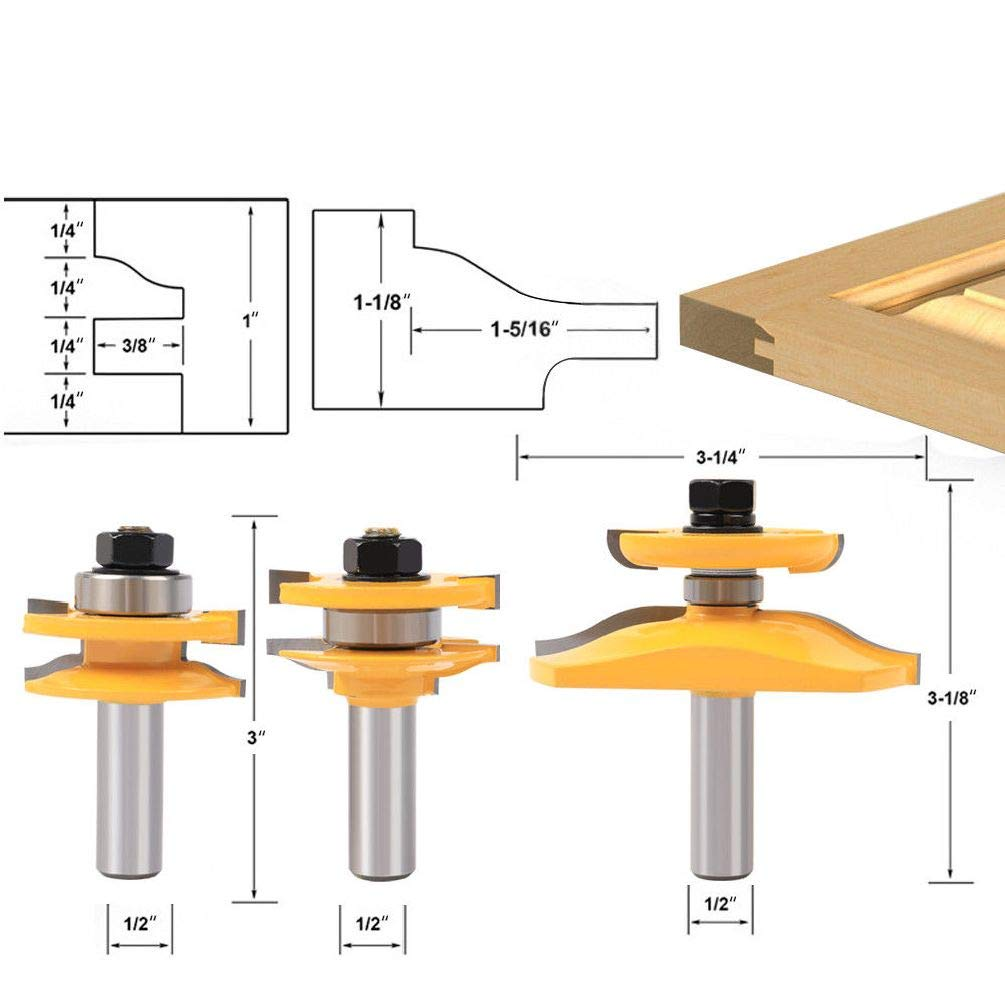 """Chengshang Long Home 3Pcs 1/2"""" Shank Rail & Stile Ogee Panel Cabinet Router Bits Set Milling Cutter"""