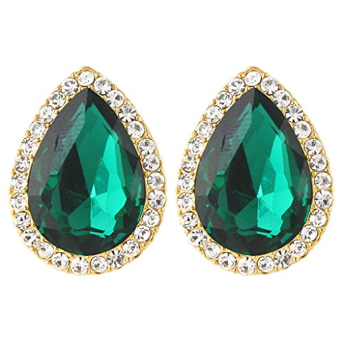 Austrian Crystal Stones - EVER FAITH Women's Austrian Crystal Wedding Teardrop Stud Earrings Green Gold-Tone