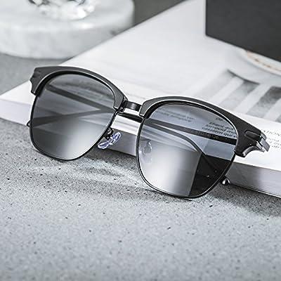 LXKMTYJ La retro-box lunettes de soleil Lunettes de soleil polarisées miroir conducteur visage rond lunettes polarisées, la conduite noir core