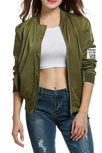 Jacket Quilted Nylon Bomber (Meaneor Women Classic Bomber Jacket Women Nylon Quilted with Patches Army Green M)