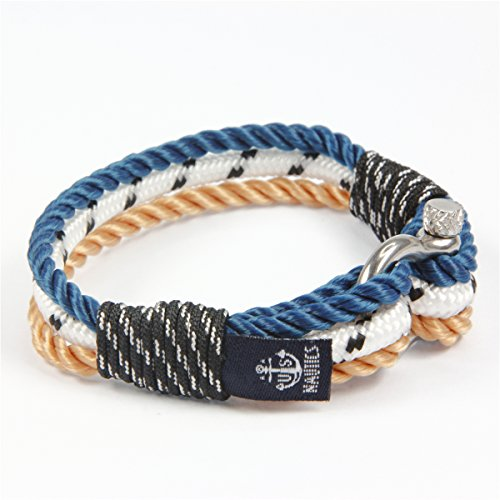 Blue Ocean Nautical Bracelets - Beautiful Bracelets Made of Yachting Rope- Wide Variety of Designs & Colors- Stainless Steel Buckle- Great Gift Idea For Men & Women- (Small, Barcelona) -