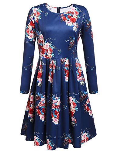 Meaneor Women Plus Size Long Sleeve Vintage Floral Dress for Christmas Holiday Party, Blue, XXL