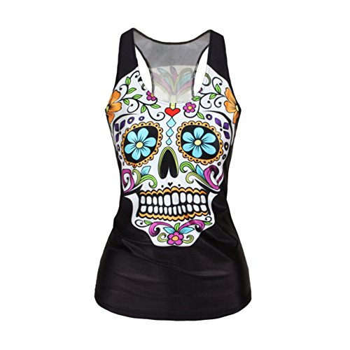 Cheap Ensasa Women's Fashion Rose Skull Flower Death Camisole Halter Top Sleeveless T-Shirt (S-XXL)
