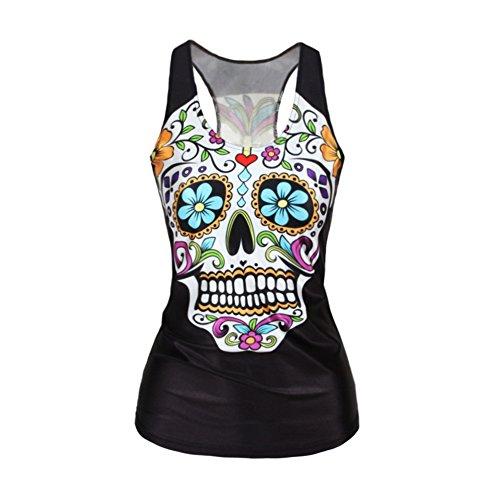 Ensasa Women's Fashion Skull Flower Camisole Halter Top Sleeveless T-Shirt (Small)