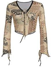 Print Crop Top Dames Flare Sleeve T-shirts Aesthetic Retro Retro Harajuku Tie Up V-hals Tee 90s Vintage Kleren
