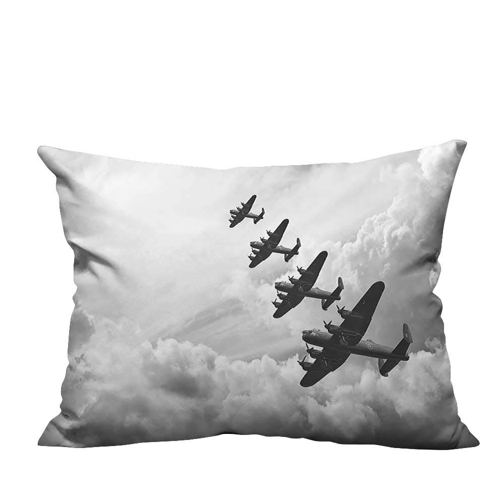 YouXianHome Sofa Waist Cushion Cover Retro Image of Lancaster Bomber Jets from Battle Royal Air Force in Clouds Decorative for Kids Adults(Double-Sided Printing) 19.5x54 inch by YouXianHome