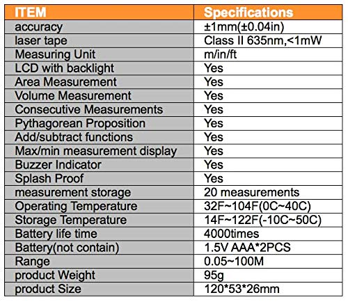 range finder sensor distance Measurement Area Volume Measurement 109yd//100m Handheld laser distance meter laser rangefinder
