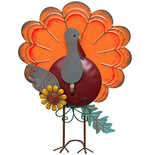 Thanksgiving Outdoor Decor (ATDAWN Metal Free Standing Turkey Decoration for Autumn Fall Thanksgiving Harvest Halloween Home Decor)