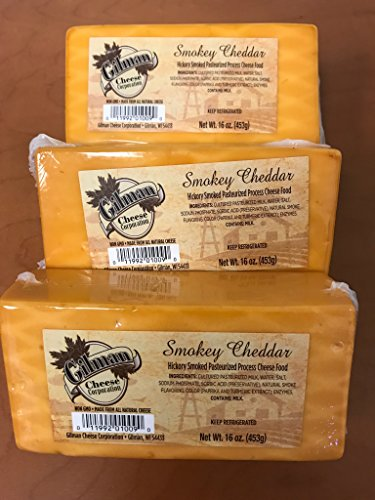 Gilman Smokey Cheddar Cheese Block 16oz (3 lbs total) by Gilman