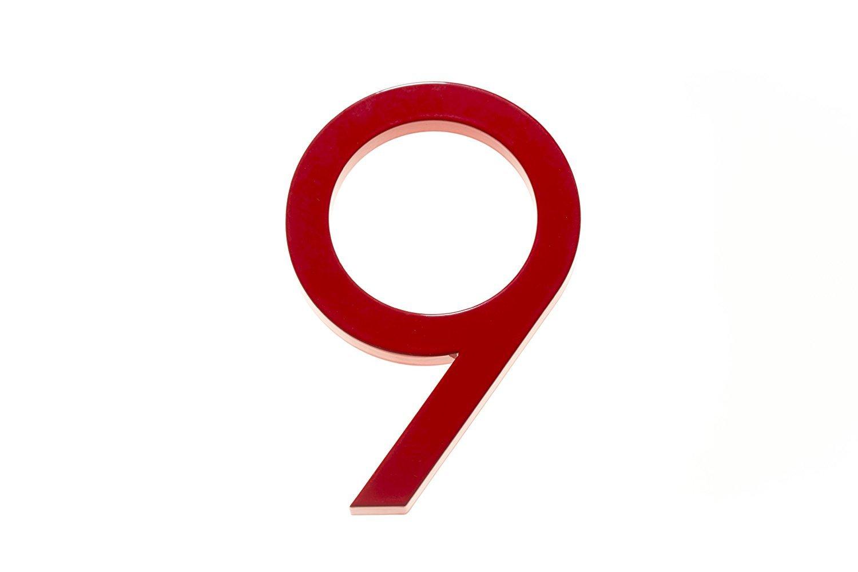 """Modern House Number Red Color Aluminum Modern Font Number Nine """"9"""" 6 inch"""