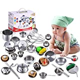 WHYQZ 40 Pcs Pretend Play Kitchen Cookware Set Stainless Steel Pots & Pans Bundle for Kids Gift - Includes Utensils & Accessories