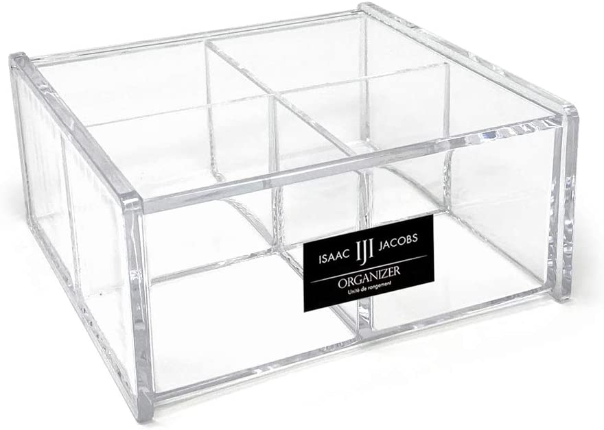 "Isaac Jacobs 4-Compartment Square Clear Acrylic Organizer with Lid (5.75"" L x 5.75"" W x 2.75"" H), Multi-Sectional Tray, Stackable, Storage Solution for School, Craft, Office Supplies, Kitchen & More"