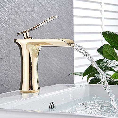 CLJ-LJ タップゴールデン滝の浴室の蛇口洗面シンクミキサー蛇口シングルハンドルの浴室台所寒さとお湯をタップクロームホワイトタップ