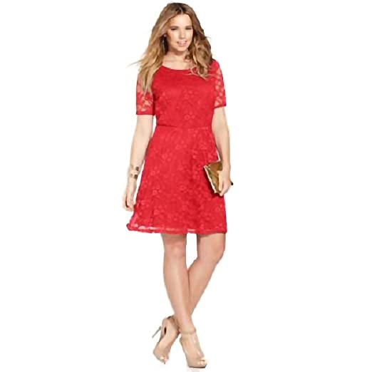 0b39400b748 Love Squared Women Plus Size Short-Sleeve Lace A-Line Dress 2X Coral Red