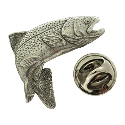 Sarah's Treats & Treasures Jumping Rainbow Trout Pin ~ Antiqued Pewter ~ Lapel Pin