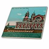 3dRose ct_110270_1 Ellis Island New York City Vintage Art Ceramic Tile, 4-Inch