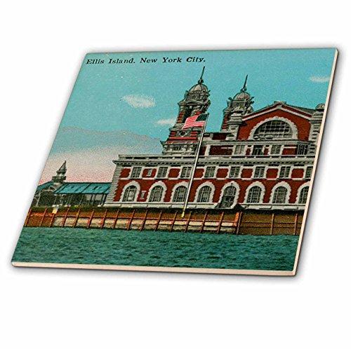 3dRose ct_110270_1 Ellis Island New York City Vintage Art Ceramic Tile, 4-Inch (Tile Ceramic Vintage)