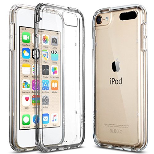 (ULAK Soft TPU Bumper PC Back Hybrid Case for iPod Touch 6/iPod Touch 5 - Retail Packaging - Clear)