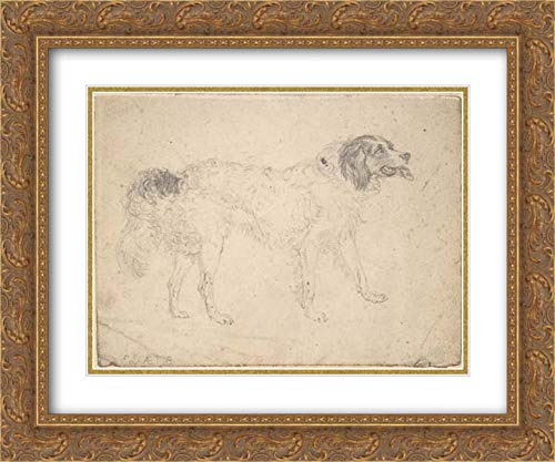 Sir Edwin Henry Landseer - 36x28 Gold Ornate Frame and Double Matted Museum Art Print - Study of a Herding Dog Facing Right