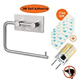 3M Self Adhesive Toilet Roll Paper Holder, YECO Brushed Stainless Steel Towel Tissue Dispenser Storage Hanger Wall Mount for Bathroom Kitchen Lavatory Contemporary Style Square Base