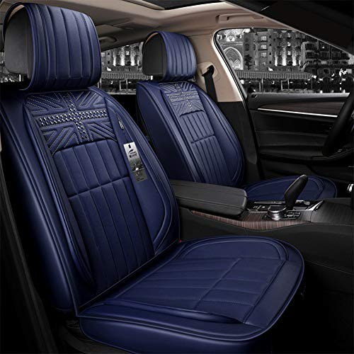 YJF-QCZT Easy to Clean PU Leather Car Seat Cushions 5 Seats Full Set - Rivet Decorated Universal Fit Cover Anti-Slip Suede Backing Adjustable Bench for 95% Types of Cars,Blue: Amazon.co.uk: Kitchen & Home