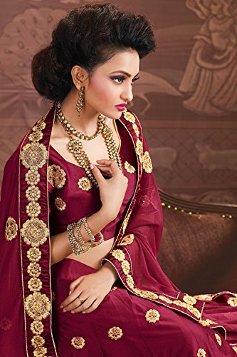 Indian Women Designer Wedding Maroon Lehenga Choli Fabz-2624